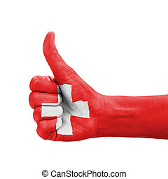 arriba, pulgar, pintado, mano, bandera, suiza