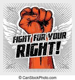 arriba., revolución, puño, -, arriba, mano, humano,...