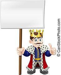 arriba, rey, pulgares, señal
