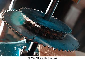 arriba., shop., circular, máquina, agudo, sierra, carpintería, cierre, hojas, peligroso