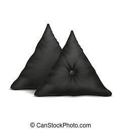 arriba., simulado, almohada, negro, 2, conjunto, vector., ...