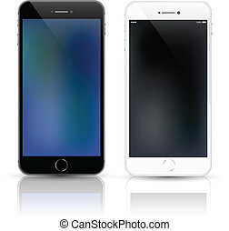 arriba., smartphone, simulado, vector