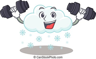 arriba, sonriente, diseño, nube, barbells, mascota, ...