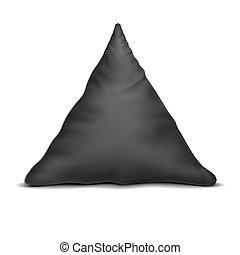 arriba., triángulo, negro, unn, vector., almohada, simulado