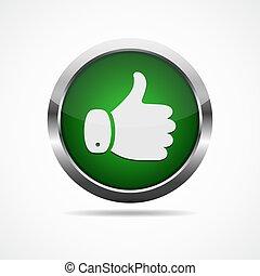 arriba, vector, button., ilustración, pulgar
