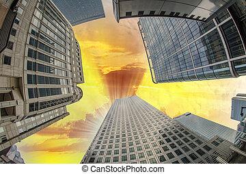 arriba vista, de, edificios de oficinas