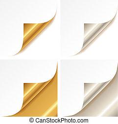 arricciato, dorato, e, argento, pagina, angolo