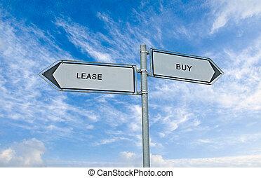 arriendo, comprar, muestra del camino