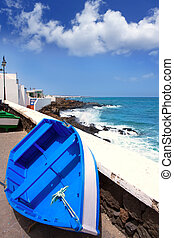 Arrieta Haria boat in Lanzarote coast at Canaries