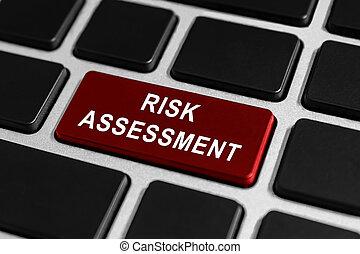 arrisque avaliação, botão, ligado, teclado
