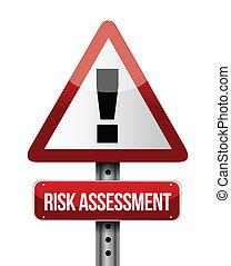arrisque avaliação, sinal estrada, ilustração, desenho