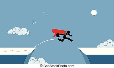 arrisque tomar, pular, vermelho, homem negócios, capa, sobre, chasm.
