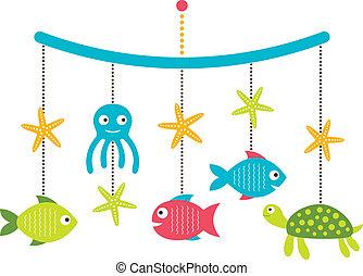 arrivée, animaux, carte, mobile, berceau, douche, mer, bébé,...