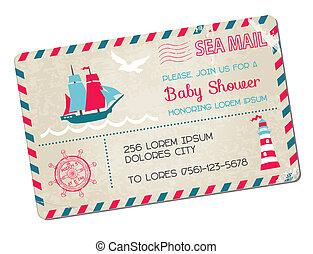 arrivée, carte postale, -, douche, thème, vecteur, mer, nautique, bébé, ou