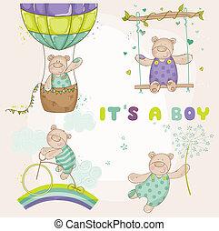 arrivée, ensemble, -, ours, douche, vecteur, bébé, ou, carte