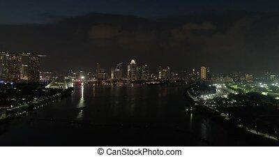 arrivée, hélicoptère, nuit, coup, singapour