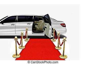 arrivée, limo, moquette rouge