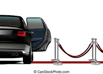 arrivée, limousine, moquette rouge