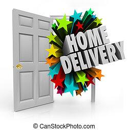 arrivée, porte, service, livraison paquet, expédition, ...