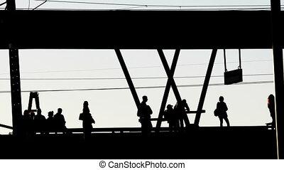 arrivée, station, train ferroviaire