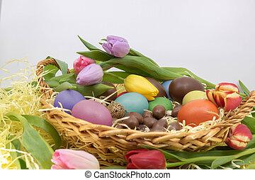 arrivée, symboles, tulipes, oeufs, printemps, fête, paques,...