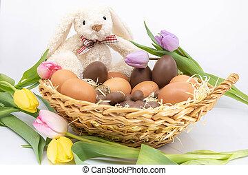 arrivée, tulipes, oeufs, -, accompagne, chocolat, printemps,...