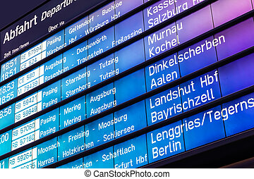 Arrival and departure board in Germany