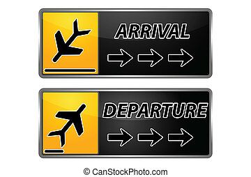 arrival and departure tags - illustration of arrival and...