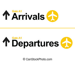 Arrival and departures airport signs isolated over a white...
