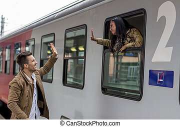 arrival by train - parr on arrival or farewell on a platform...