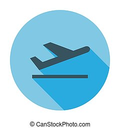 Arrival. Single flat color icon. Vector illustration.