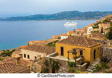 arrival of cruise ship early morning in Monemvasia
