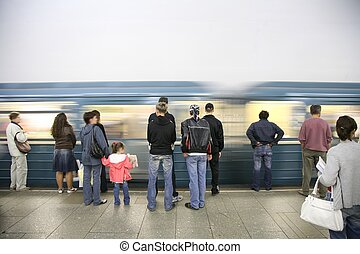 arrival of subway train