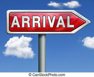 arrival road sign arrow