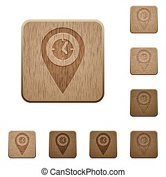 Arrival time GPS map location on rounded square carved wooden button styles