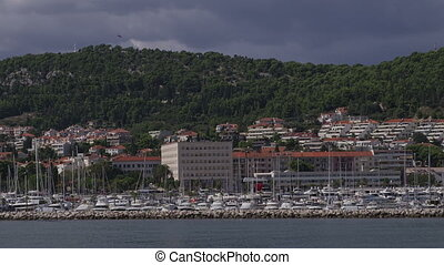 Arrival to Split by boat - Arrival to Split passing by the...
