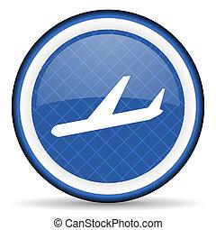 arrivals blue icon plane sign