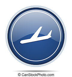Arrivals blue round web icon. Circle isolated internet button for webdesign and smartphone applications.
