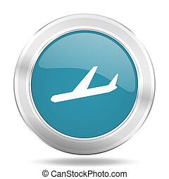 arrivals icon, blue round glossy metallic button, web and mobile app design illustration