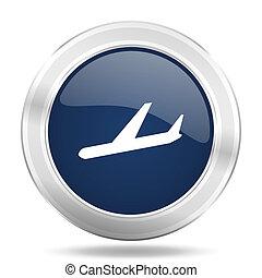 arrivals icon, dark blue round metallic internet button, web...