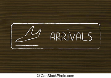 Arrivals sign as found in airport terminals