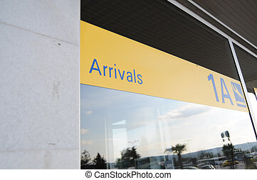 Arrivals sign on airport