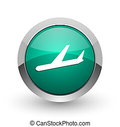 Arrivals silver metallic chrome web design green round internet icon with shadow on white background.
