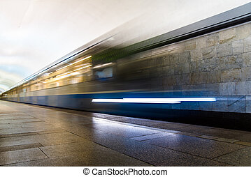arrivant, station, train, métro, métro