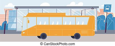 arrivant, transport, ville, arrêt, vide, public, autobus