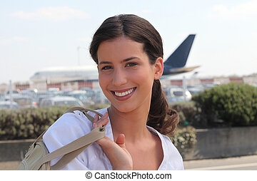 arrivare, aeroporto, donna