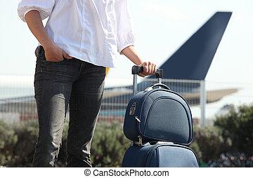 arrivare, aeroporto, uomo, bagaglio
