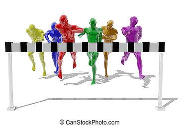 arrivare, linea, fine, atleti corrono
