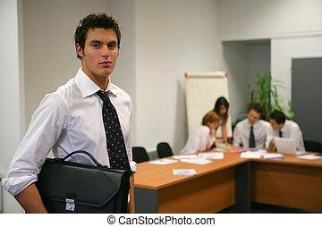 arrivare, riunione, uomo affari