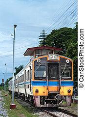 arrivare, stazione, tailandese, treno, colorito